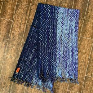Missoni Orange Label Blue/Purple Knit Scarf